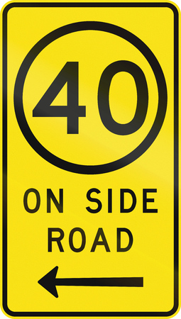 kmh: An Australian road sign used in Victoria - Speed limit 40 kmh on side road Stock Photo