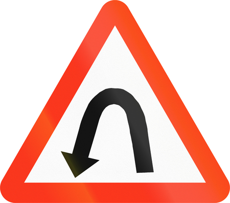 hairpin: Bangladeshi sign warning about a left hairpin curve. Stock Photo