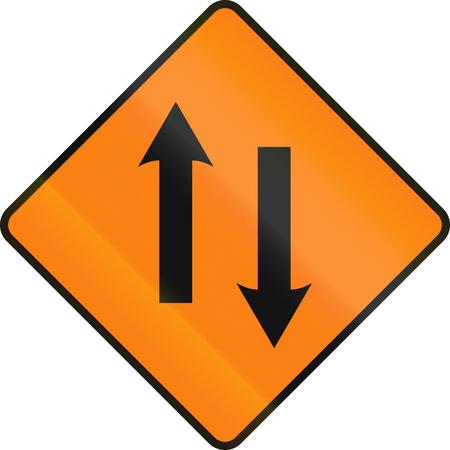 one lane roadsign: An Irish temporary road sign - Two lane area ahead Stock Photo
