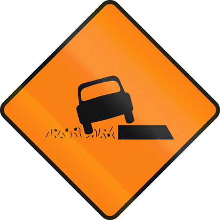 road shoulder: Irish temporary traffic warning sign: Edge in road surface or soft shoulder