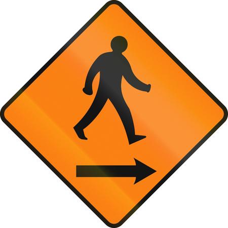temporary: Irish temporary traffic warning sign: Pedestrians on the right.
