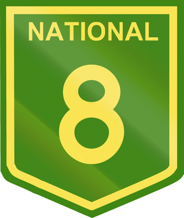 number 8: Australian National Highway shield with number 8. Stock Photo