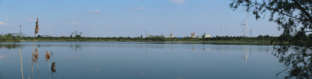 image created 21st century: Panoramic view of the Barleber See II in Magdeburg, Saxony-Anhalt, Germany.