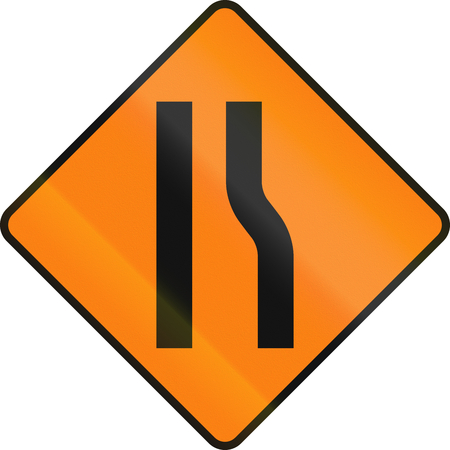 one lane road sign: Irish temporary road warning sign: Road narrows on the right