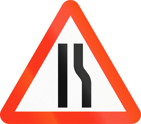 narrowing: Bangladeshi sign indicating narrowing of the road only on the right. Stock Photo