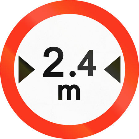width: Bangladeshi sign prohibiting thoroughfare of vehicles with a width over 2.4 meters.