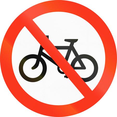 thoroughfare: Bangladesh traffic sign prohibiting thoroughfare of bicyles. Stock Photo