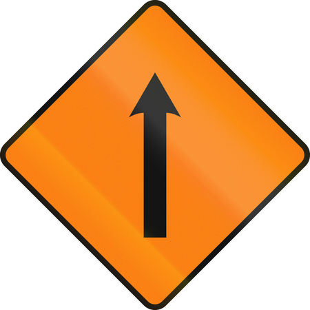 one lane roadsign: An Irish temporary road sign - Single lane area ahead Stock Photo