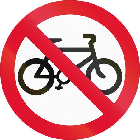 thoroughfare: Hong Kong traffic sign prohibiting thoroughfare of bicyles. Stock Photo