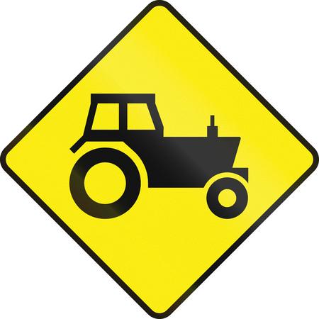 tractor warning: Irish road warning sign - Tractorfarm vehicle crossing Stock Photo