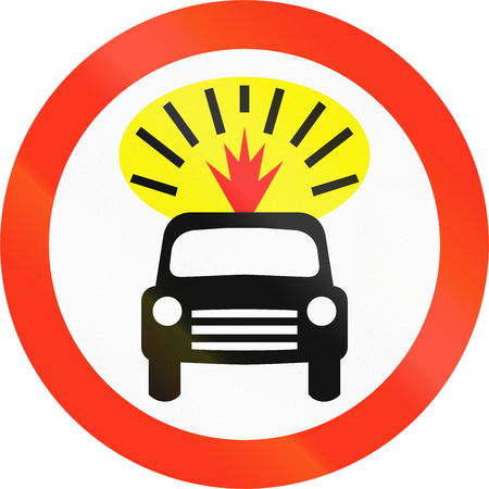thoroughfare: Bangladeshi traffic sign prohibiting thoroughfare of motor vehicles carrying flammable goods. Stock Photo