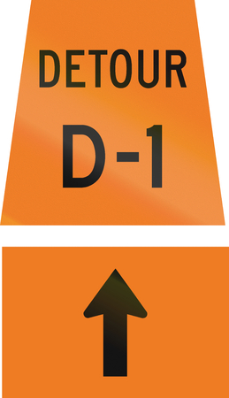 d1: Canadian temporary road sign - Straight ahead for detour D-1. This sign is used in Ontario. Stock Photo