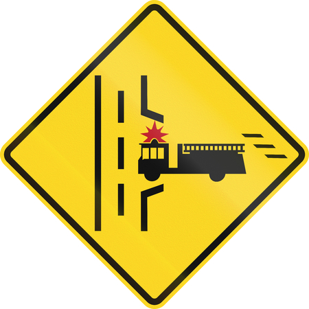 right handed: Warning road sign in Canada - Fire truck entrance on the right. This sign is used in Ontario. Stock Photo