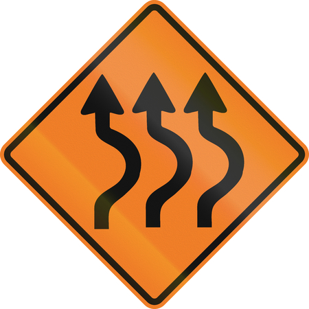 right handed: Canadian traffic warning sign - triple two reverse curve to the Right. This sign is used in Ontario.