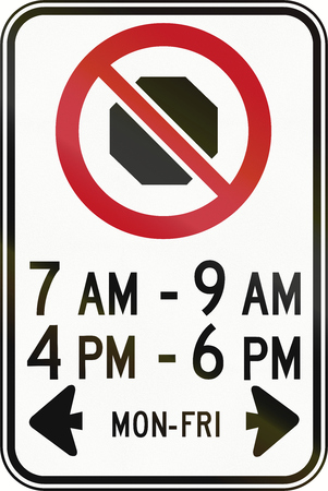weekday: Canadian road sign - No Stopping in specified times. This sign is used in Ontario. Stock Photo
