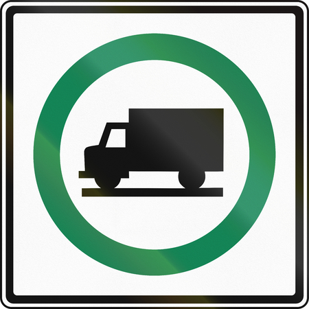 Regulatory sign in Canada - Lorry route. This sign is used in Ontario. Stock Photo