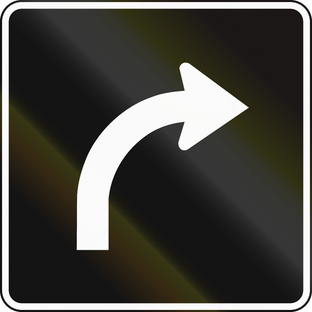 right handed: Lane management sign in Canada - Lane for right turn. This sign is used in Ontario.