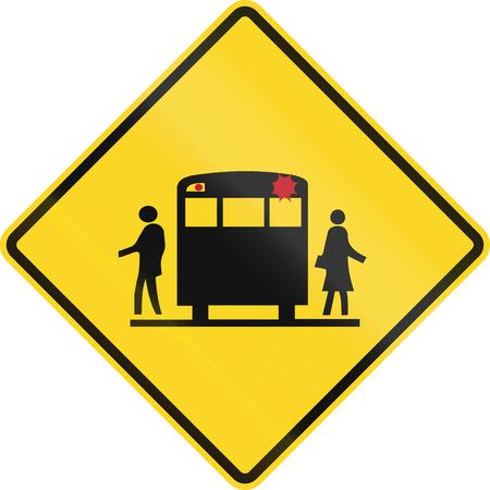 bus stop: Se�al de advertencia de la escuela canadiense - parada del autob�s escolar por delante. Este signo se utiliza en Ontario.