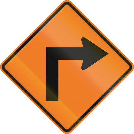 right handed: Canadian temporary road warning sign - Right curve ahead. This sign is used in Ontario. Stock Photo