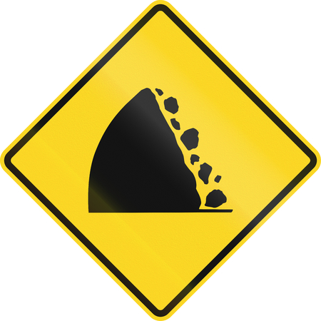 warning back: Canadian warning traffic sign - Falling Rocks from the left. This sign is used in Ontario.