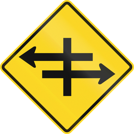 carriageway: An Canadian warning traffic sign - Intersection at dual carriageway. This sign is used in Ontario.
