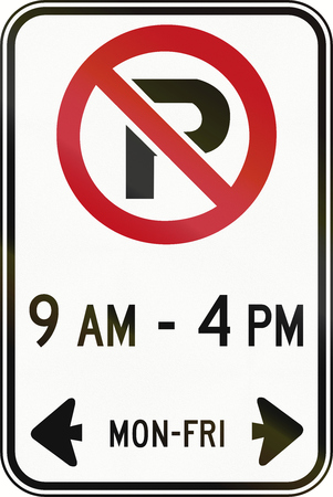 weekday: Canadian road sign - No Parking on workdays in specified times. This sign is used in Ontario.