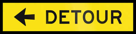 deviation: An Australian temporary road sign - Detour to the left Stock Photo