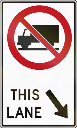 red handed: Regulatory sign in Canada - Trucks forbidden on right lane. This sign is used in Ontario.