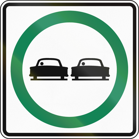 overtaking: Regulatory sign in Canada - Overtaking permitted. This sign is used in Ontario. Stock Photo