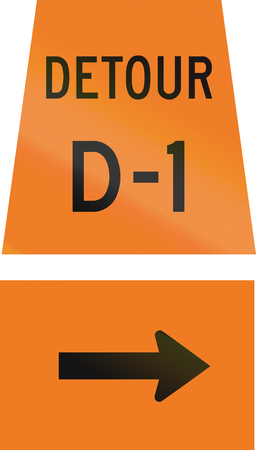 d1: Canadian temporary road sign - Right turn ahead for detour D-1. This sign is used in Ontario.