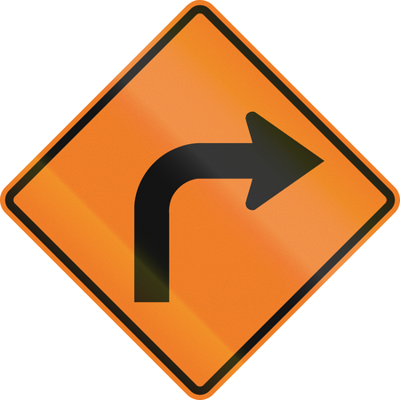 temporary: Canadian temporary temporary road warning sign - Right curve ahead. This sign is used in Ontario.