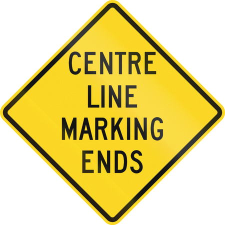 marking: Warning road sign in Canada - Centre line marking ends. This sign is used in Ontario. Stock Photo