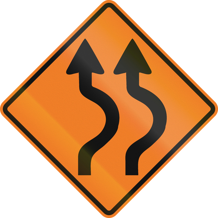 right handed: Canadian traffic warning sign - Double two reverse curve to the Right. This sign is used in Ontario.