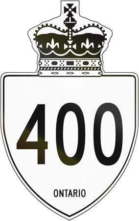 highway sign: Canadian highway shield of Ontario highway number 400. Stock Photo