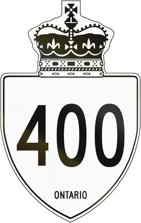 information highway: Canadian highway shield of Ontario highway number 400. Stock Photo