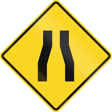 Canadian road warning sign - One lane roadnarrow road ahead. This sign is used in Ontario. Stock Photo