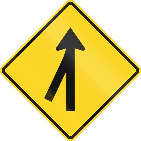 acute angle: Canadian road warning sign - 3-way merging Intersection ahead. This sign is used in Ontario.