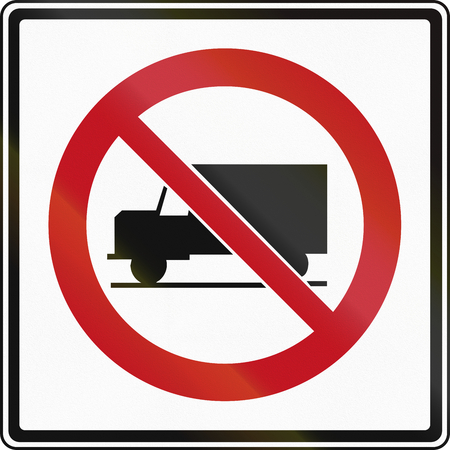 ontario: Canadian traffic sign prohibiting thoroughfare of lorries. This sign is used in Ontario. Stock Photo