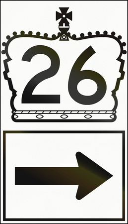 the royal county: Canadian highway direction shield of a provincial route with number 26. This sign is used in Ontario.