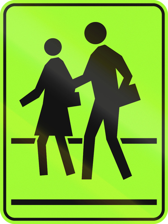 lurid: Canadian school crossing warning sign, new green version. This sign is used in Ontario.