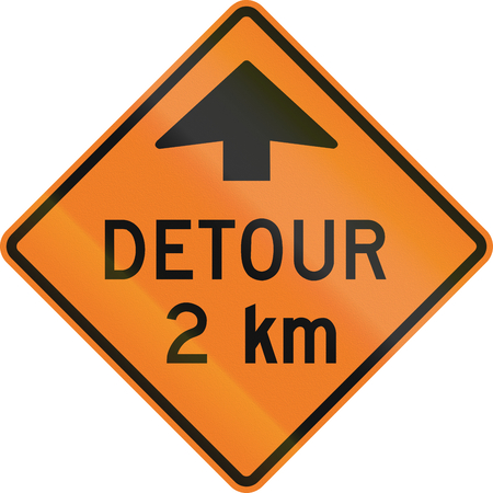 moving images: Roadworks sign in Canada - Detour in 2 km. This sign is used in Ontario.