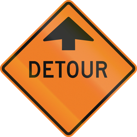 Roadworks sign in Canada - Detour ahead. This sign is used in Ontario.