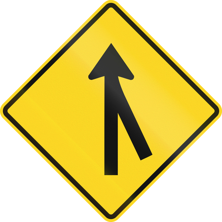 merging: Canadian road warning sign - 3-way merging Intersection ahead. This sign is used in Ontario.