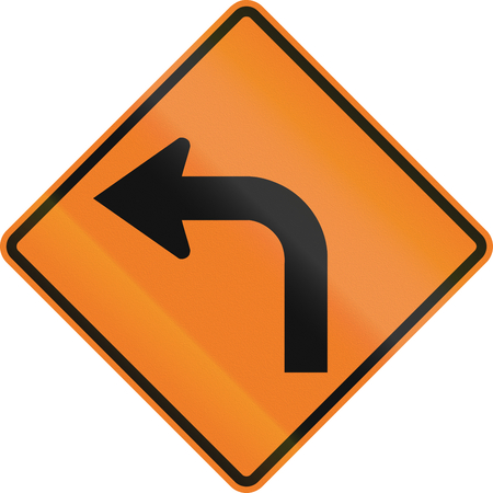 left handed: Canadian temporary temporary road warning sign - Left curve ahead. This sign is used in Ontario. Stock Photo
