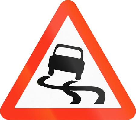 mud slide: Bangladeshi sign warning about slip danger.