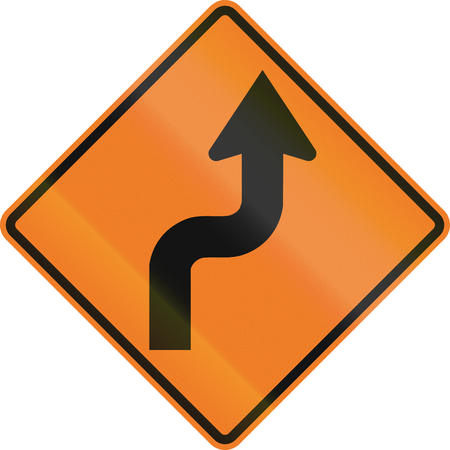 right handed: Canadian temporary road warning sign - Reverse turn. This sign is used in Ontario.