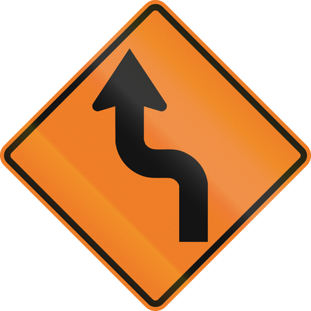 left handed: Canadian temporary road warning sign - Reverse turn. This sign is used in Ontario.