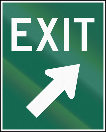 right handed: Guide road sign in Canada - Exit. This sign is used in Ontario.