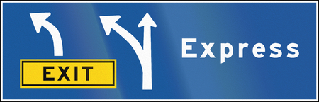 express lane: An express lane and exit sign in Ontario, Canada.