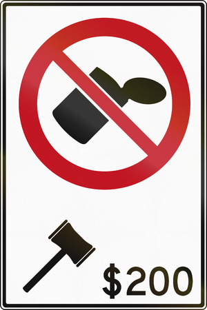 traffic ticket: Littering prohibited road sign in Canada, the fine is 200 Dollars. This sign is used in Ontario.